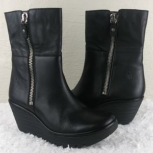 Fly London Black Leather Mid Calf Wedged Boots
